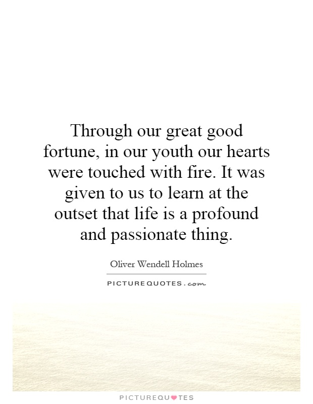 Through our great good fortune, in our youth our hearts were touched with fire. It was given to us to learn at the outset that life is a profound and passionate thing Picture Quote #1