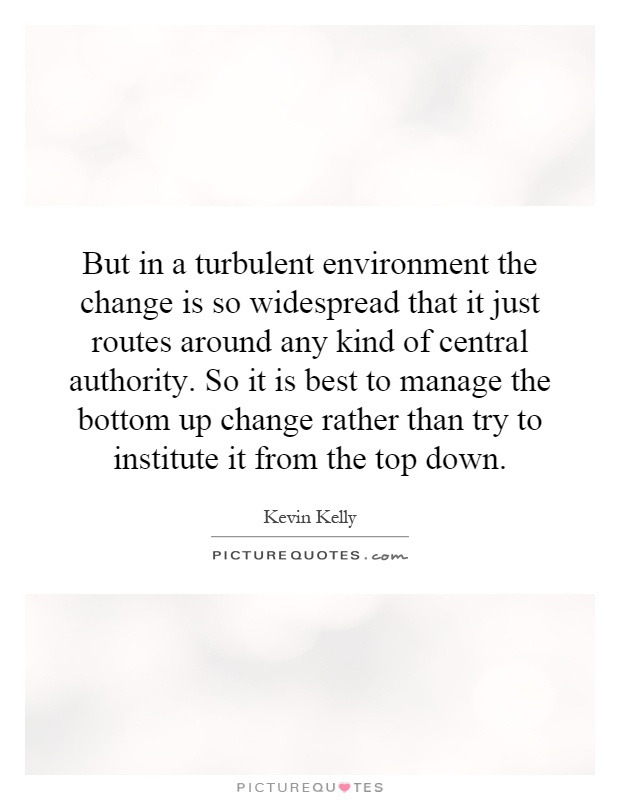 But in a turbulent environment the change is so widespread that it just routes around any kind of central authority. So it is best to manage the bottom up change rather than try to institute it from the top down Picture Quote #1
