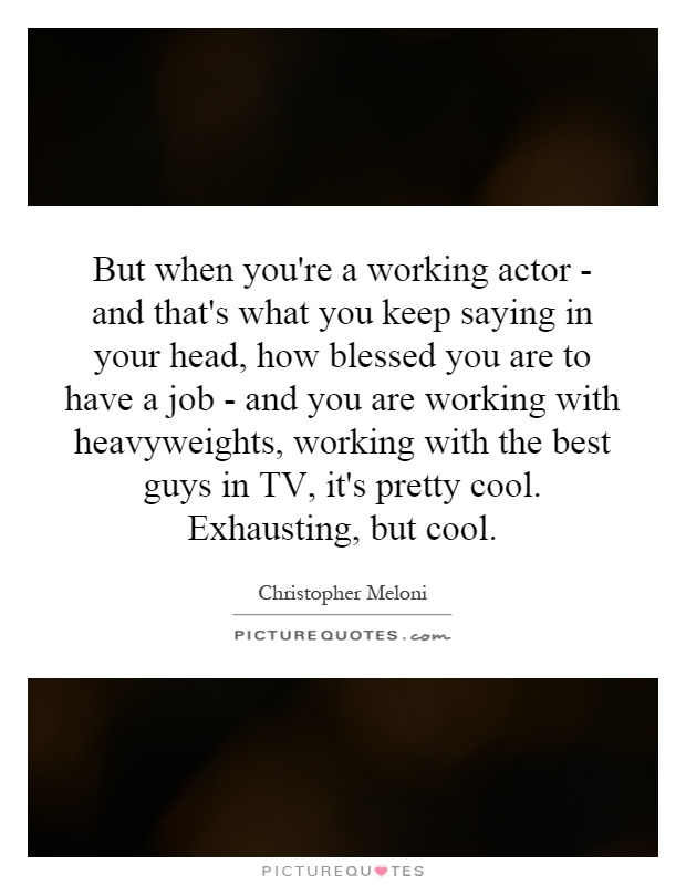 But when you're a working actor - and that's what you keep saying in your head, how blessed you are to have a job - and you are working with heavyweights, working with the best guys in TV, it's pretty cool. Exhausting, but cool Picture Quote #1