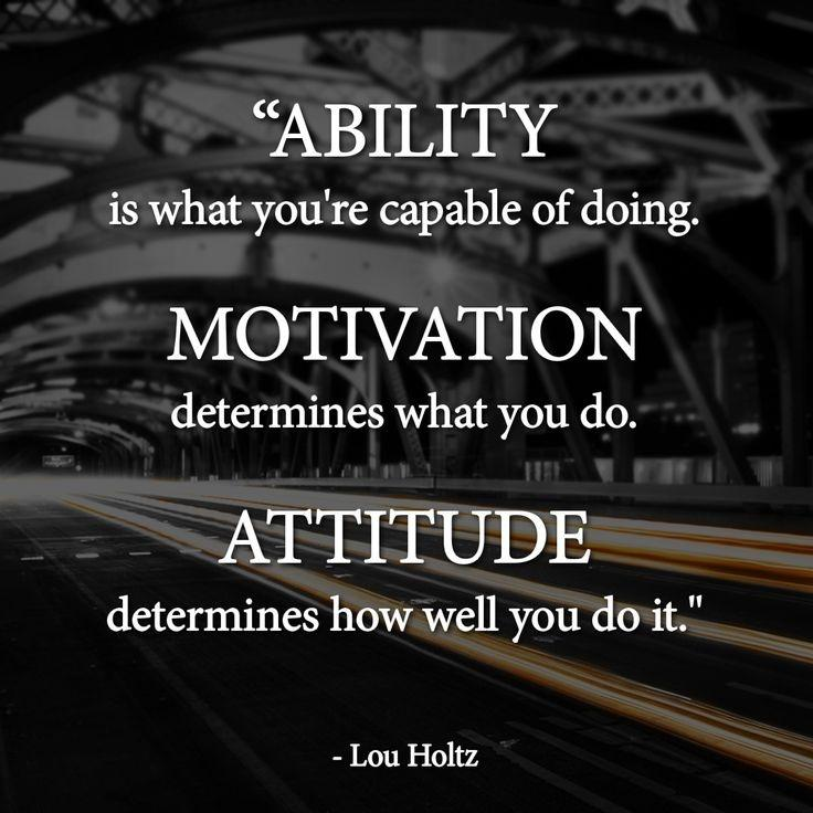 Ability is what you're capable of doing. Motivation determines what you do. Attitude determines how well you do it Picture Quote #2