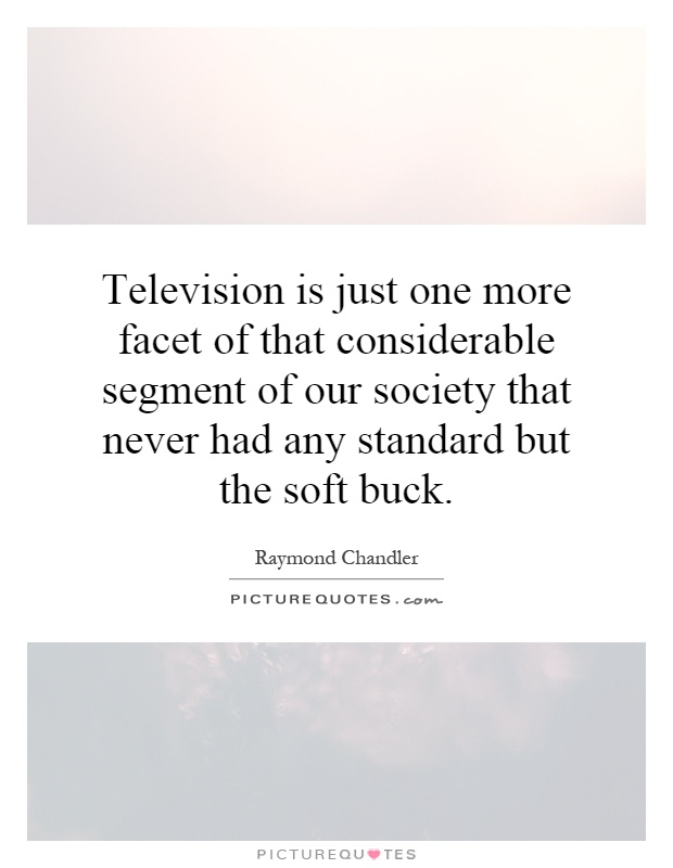 Television is just one more facet of that considerable segment of our society that never had any standard but the soft buck Picture Quote #1