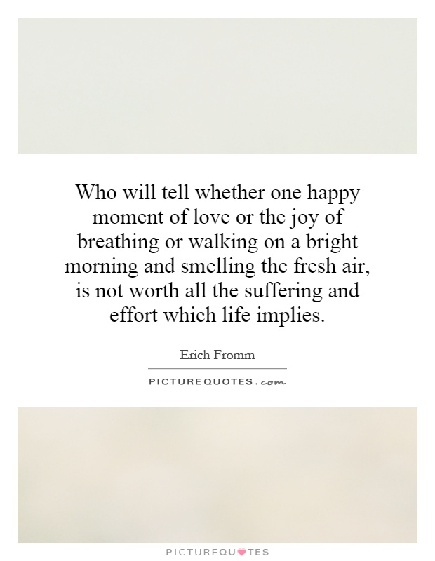 Who will tell whether one happy moment of love or the joy of breathing or walking on a bright morning and smelling the fresh air, is not worth all the suffering and effort which life implies Picture Quote #1