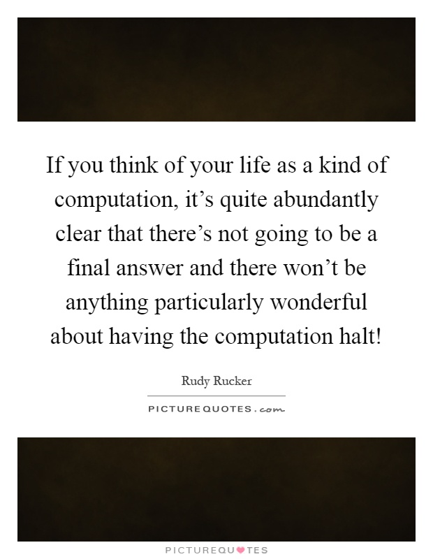 If you think of your life as a kind of computation, it's quite abundantly clear that there's not going to be a final answer and there won't be anything particularly wonderful about having the computation halt! Picture Quote #1