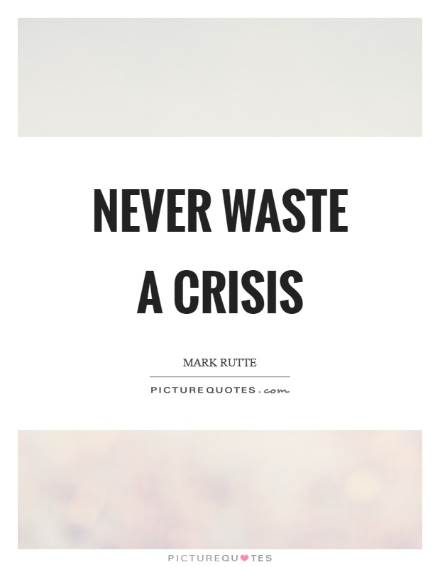 Never waste a crisis Picture Quote #1