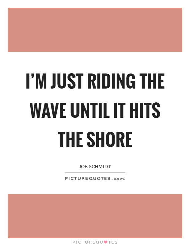 I'm just riding the wave until it hits the shore Picture Quote #1