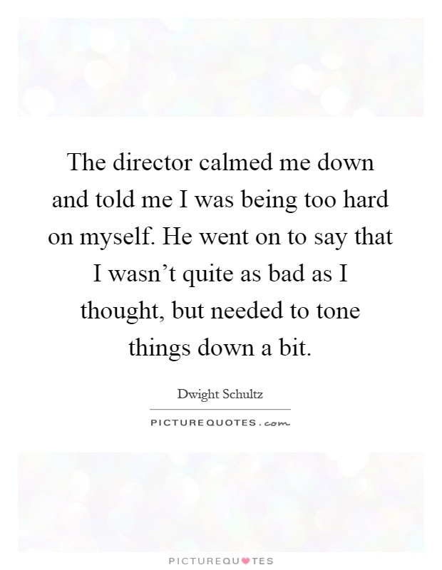 The director calmed me down and told me I was being too hard on myself. He went on to say that I wasn't quite as bad as I thought, but needed to tone things down a bit Picture Quote #1