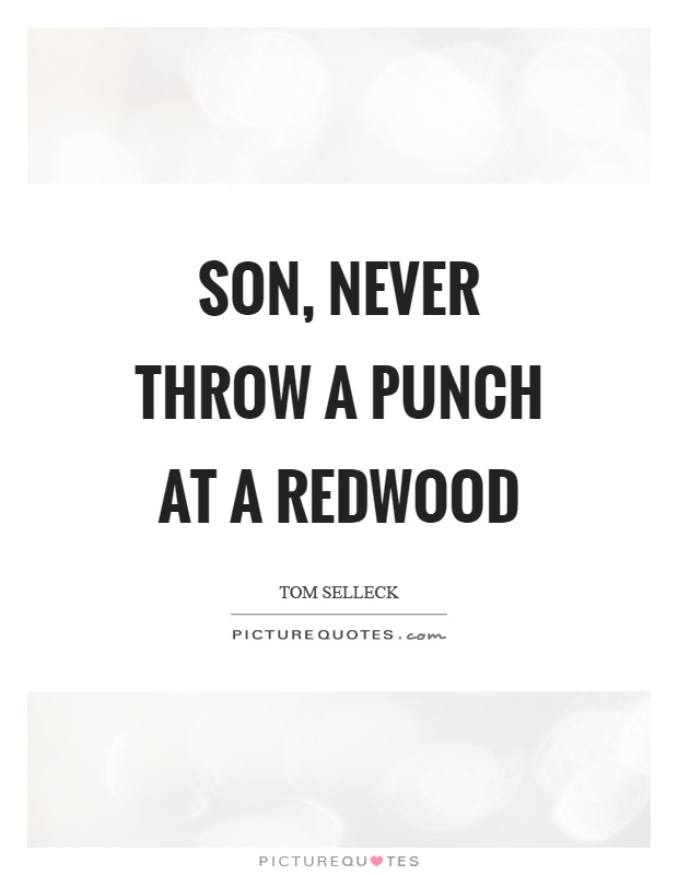 Son, never throw a punch at a redwood Picture Quote #1