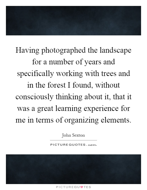 Having photographed the landscape for a number of years and specifically working with trees and in the forest I found, without consciously thinking about it, that it was a great learning experience for me in terms of organizing elements Picture Quote #1
