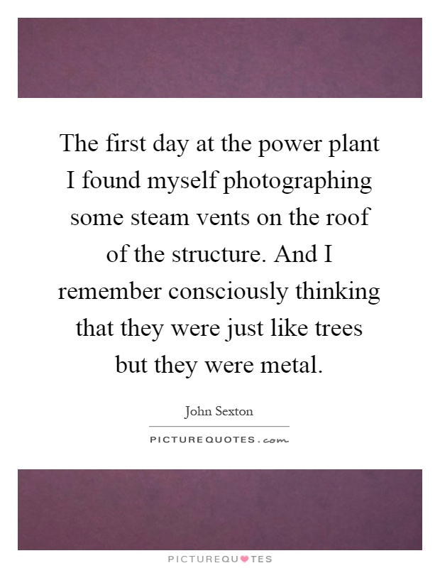 The first day at the power plant I found myself photographing some steam vents on the roof of the structure. And I remember consciously thinking that they were just like trees but they were metal Picture Quote #1