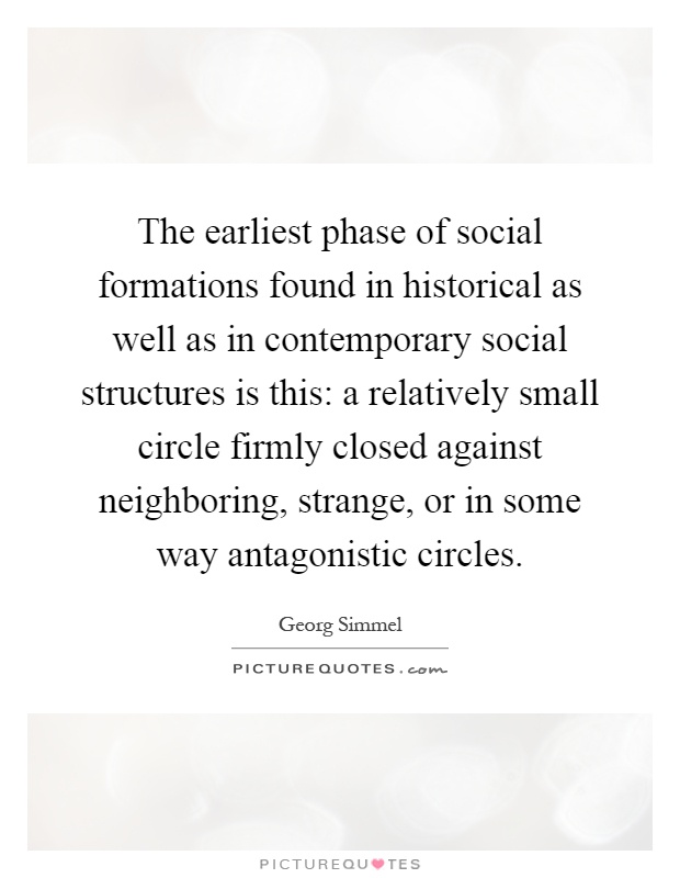 The earliest phase of social formations found in historical as well as in contemporary social structures is this: a relatively small circle firmly closed against neighboring, strange, or in some way antagonistic circles Picture Quote #1