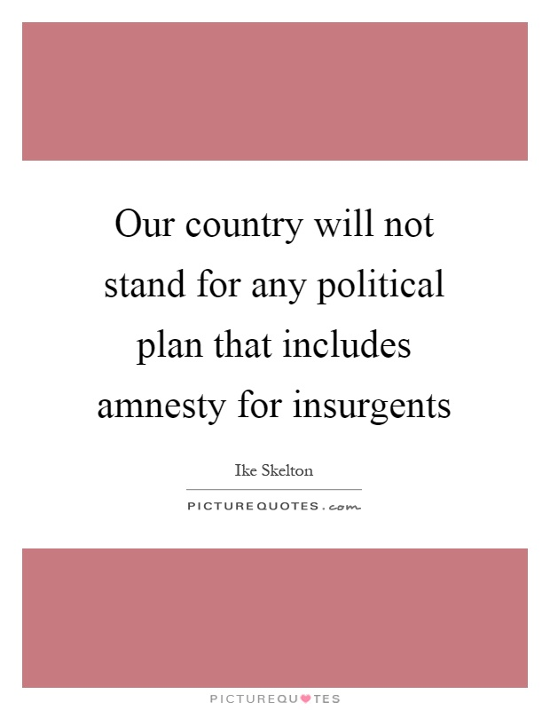 Our country will not stand for any political plan that includes amnesty for insurgents Picture Quote #1