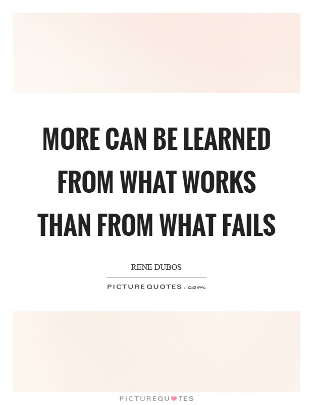 More can be learned from what works than from what fails Picture Quote #1