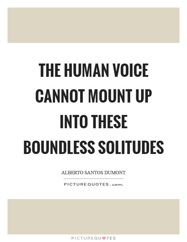 The human voice cannot mount up into these boundless solitudes Picture Quote #1
