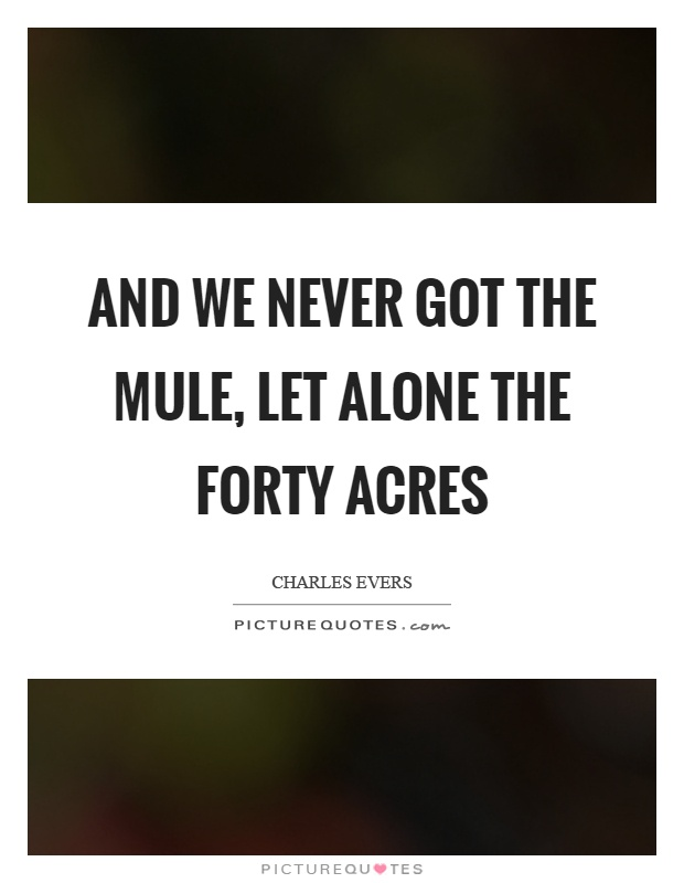 And we never got the mule, let alone the forty acres Picture Quote #1