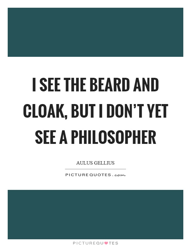 I see the beard and cloak, but I don't yet see a philosopher Picture Quote #1