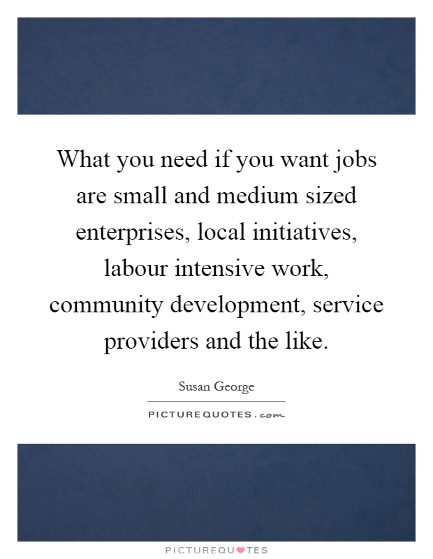 What you need if you want jobs are small and medium sized enterprises, local initiatives, labour intensive work, community development, service providers and the like Picture Quote #1