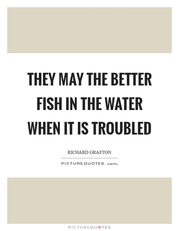They may the better fish in the water when it is troubled Picture Quote #1