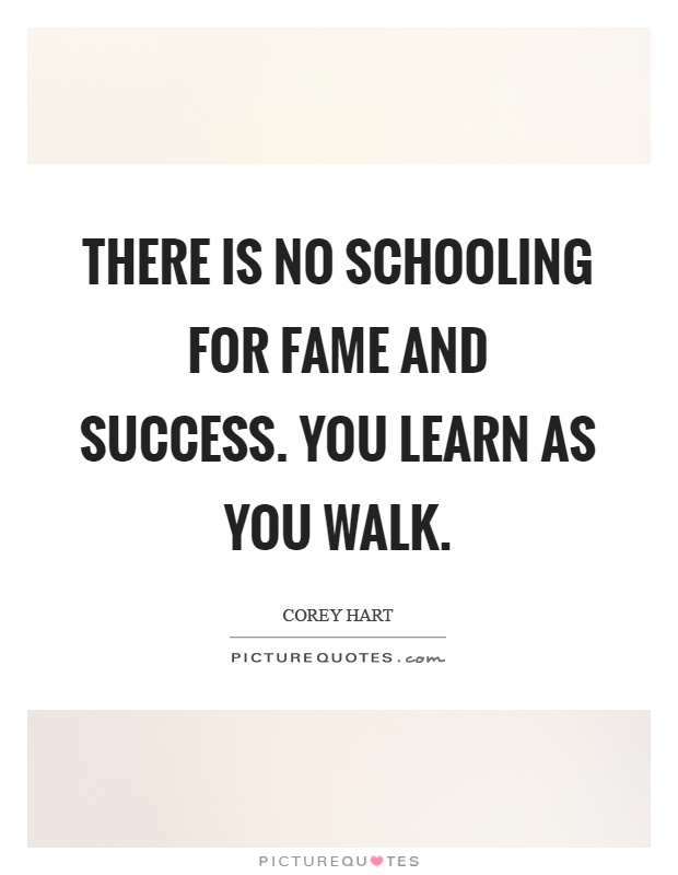 There is no schooling for fame and success. You learn as you walk Picture Quote #1