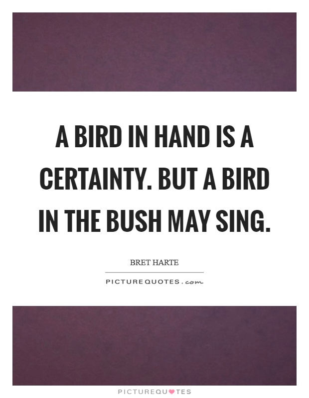 A bird in hand is a certainty. But a bird in the bush may sing Picture Quote #1