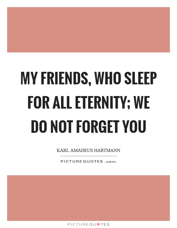 My friends, who sleep for all eternity; we do not forget you Picture Quote #1