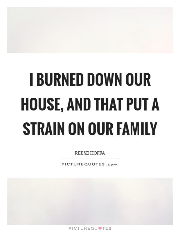 I burned down our house, and that put a strain on our family Picture Quote #1