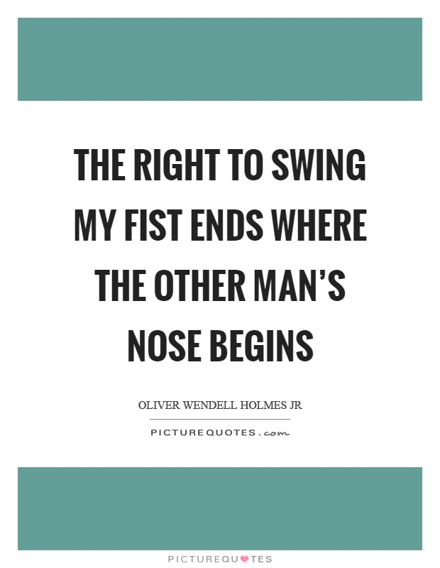 The right to swing my fist ends where the other man's nose begins Picture Quote #1