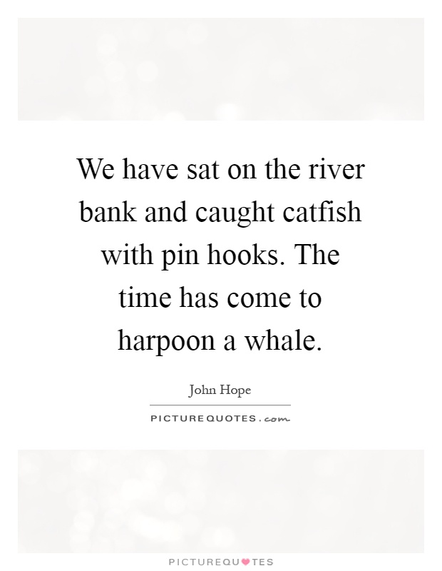 We have sat on the river bank and caught catfish with pin hooks. The time has come to harpoon a whale Picture Quote #1