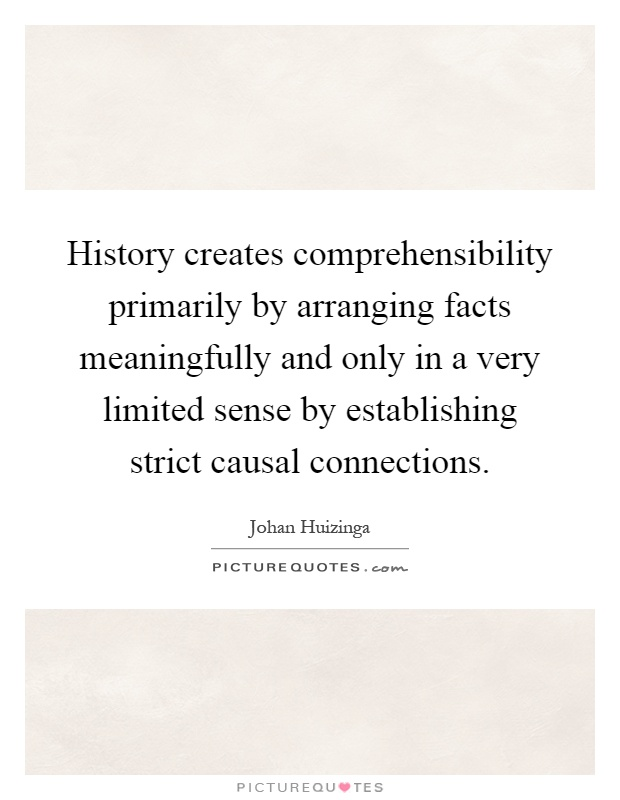 History creates comprehensibility primarily by arranging facts meaningfully and only in a very limited sense by establishing strict causal connections Picture Quote #1