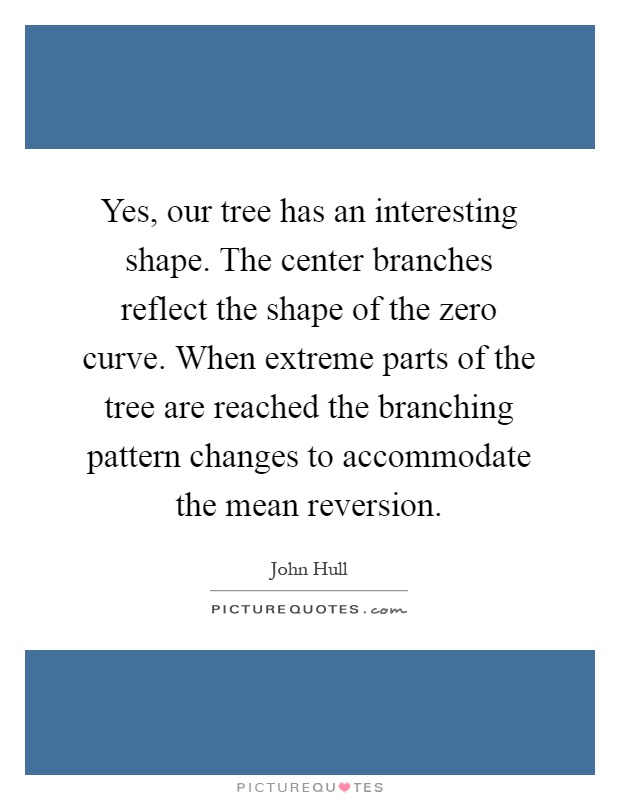 Yes, our tree has an interesting shape. The center branches reflect the shape of the zero curve. When extreme parts of the tree are reached the branching pattern changes to accommodate the mean reversion Picture Quote #1