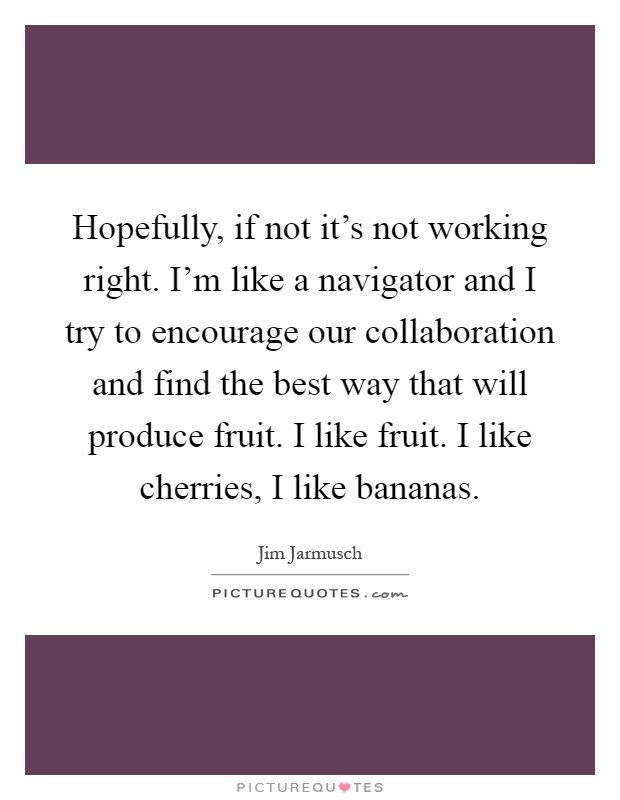 Hopefully, if not it's not working right. I'm like a navigator and I try to encourage our collaboration and find the best way that will produce fruit. I like fruit. I like cherries, I like bananas Picture Quote #1
