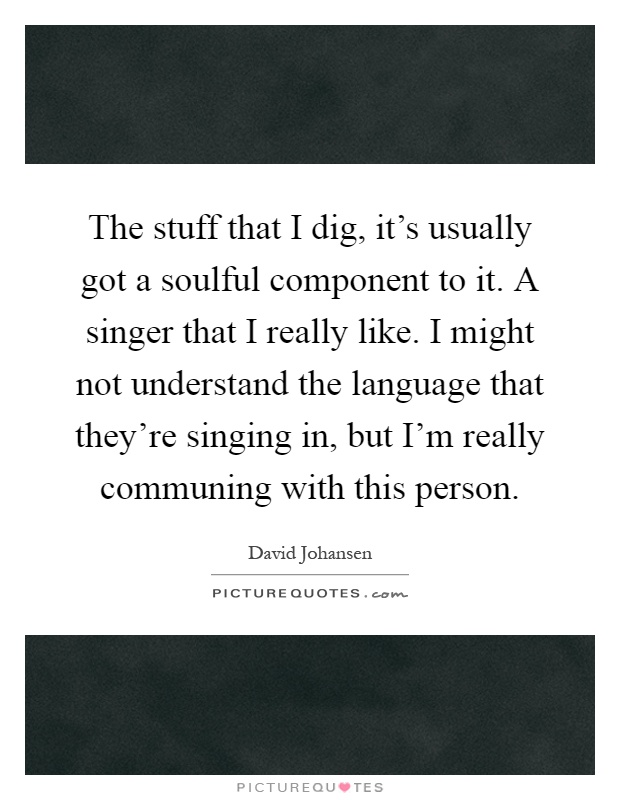 The stuff that I dig, it's usually got a soulful component to it. A singer that I really like. I might not understand the language that they're singing in, but I'm really communing with this person Picture Quote #1