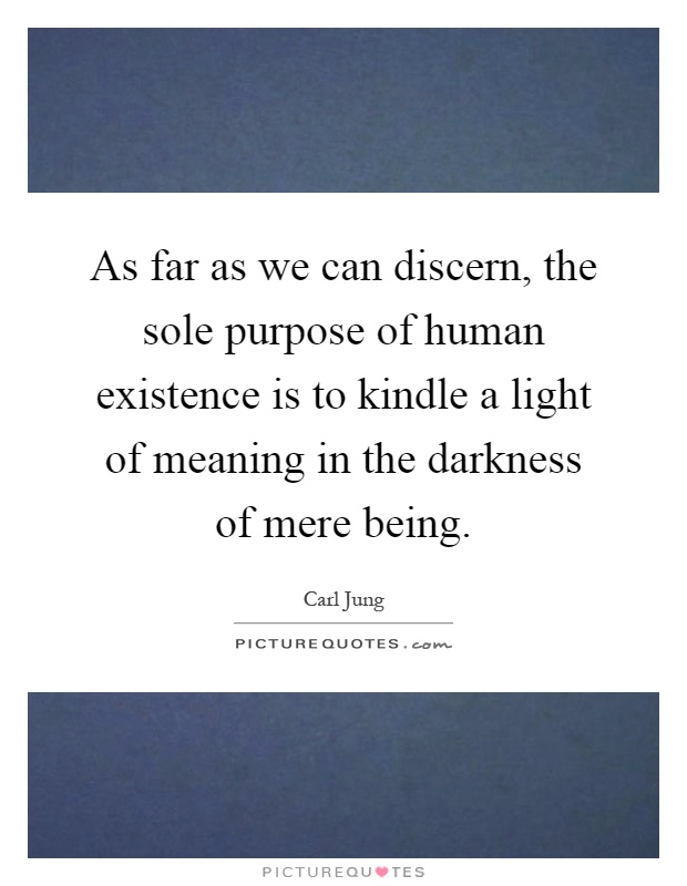 As far as we can discern, the sole purpose of human existence is to kindle a light of meaning in the darkness of mere being Picture Quote #1