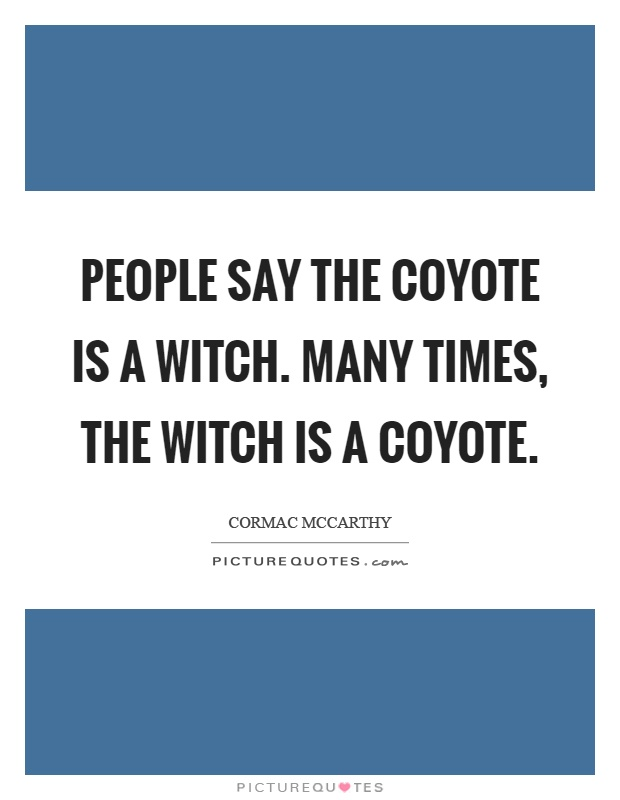 People say the coyote is a witch. Many times, the witch is a coyote Picture Quote #1