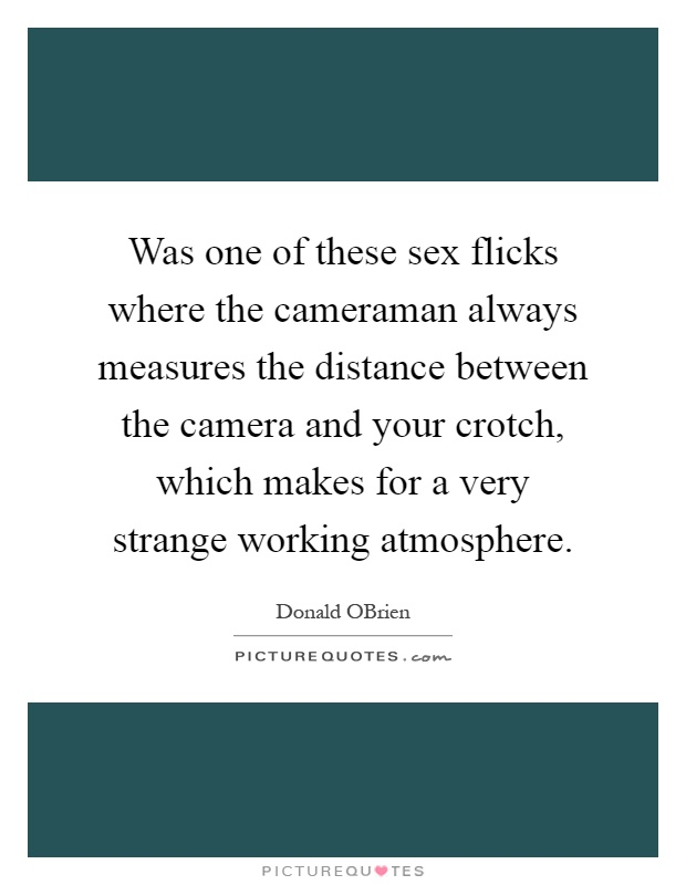 Was one of these sex flicks where the cameraman always measures the distance between the camera and your crotch, which makes for a very strange working atmosphere Picture Quote #1