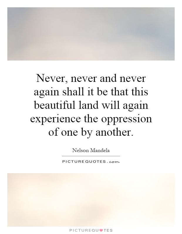 Never, never and never again shall it be that this beautiful land will again experience the oppression of one by another Picture Quote #1