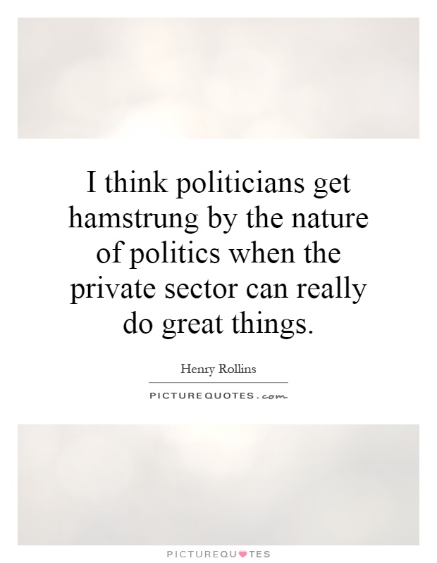 I think politicians get hamstrung by the nature of politics when the private sector can really do great things Picture Quote #1