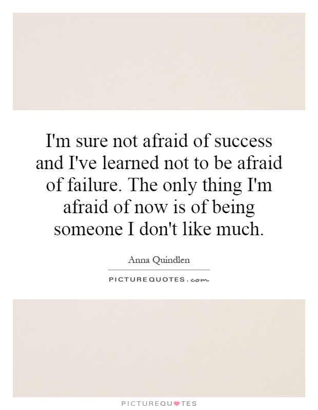 I'm sure not afraid of success and I've learned not to be afraid of failure. The only thing I'm afraid of now is of being someone I don't like much Picture Quote #1