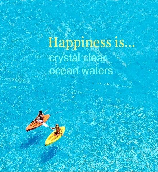 Happiness is crystal clear ocean waters Picture Quote #1