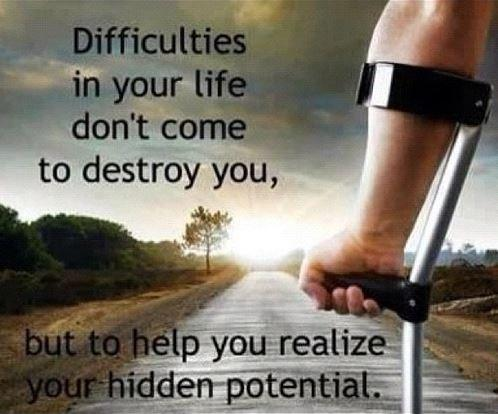 Difficulties in your life don't come to destroy you, but to help you realize your hidden potential Picture Quote #1