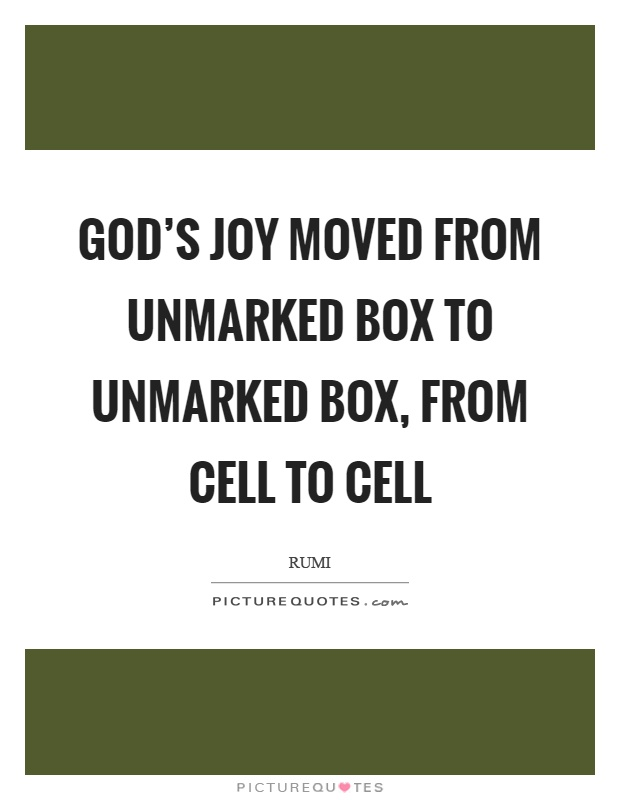God's joy moved from unmarked box to unmarked box, from cell to cell Picture Quote #1