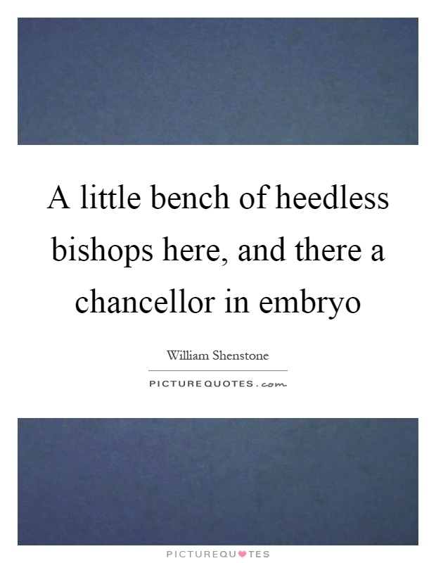 A little bench of heedless bishops here, and there a chancellor in embryo Picture Quote #1