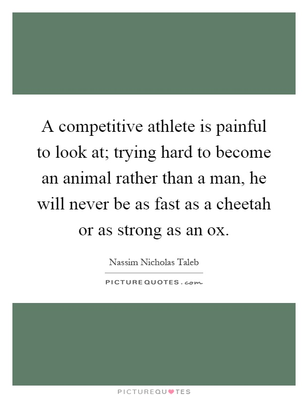 A competitive athlete is painful to look at; trying hard to become an animal rather than a man, he will never be as fast as a cheetah or as strong as an ox Picture Quote #1