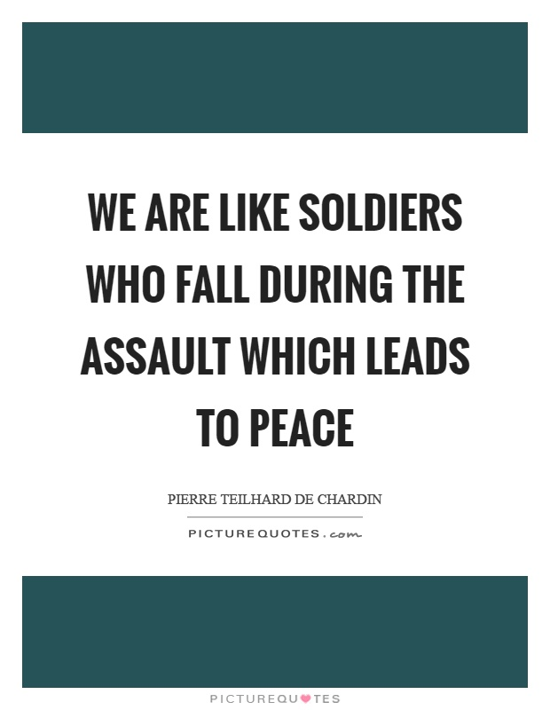 We are like soldiers who fall during the assault which leads to peace Picture Quote #1