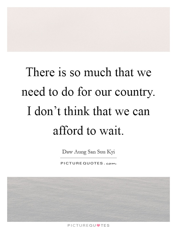 There is so much that we need to do for our country. I don't think that we can afford to wait Picture Quote #1