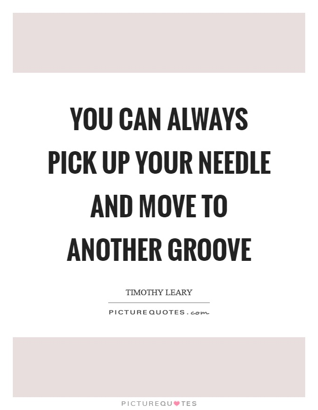 You can always pick up your needle and move to another groove Picture Quote #1