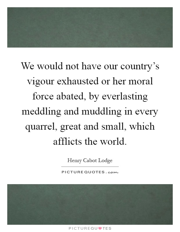 We would not have our country's vigour exhausted or her moral force abated, by everlasting meddling and muddling in every quarrel, great and small, which afflicts the world Picture Quote #1