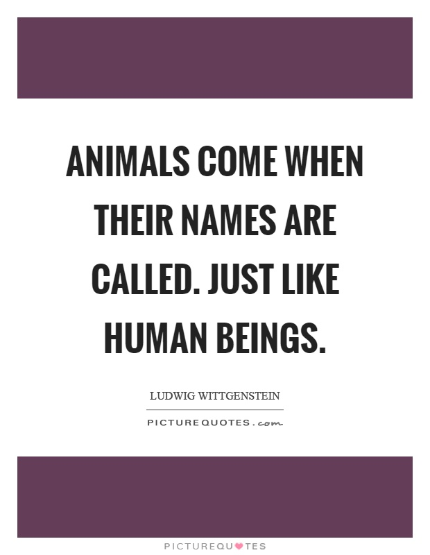 Animals come when their names are called. Just like human beings Picture Quote #1