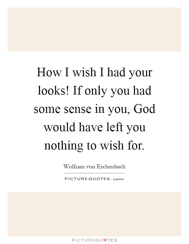 How I wish I had your looks! If only you had some sense in you, God would have left you nothing to wish for Picture Quote #1