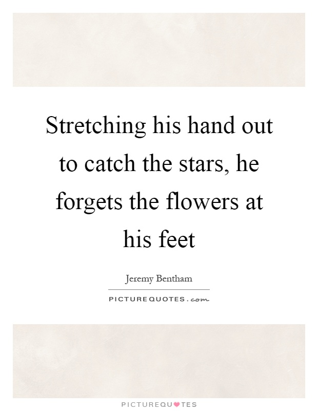 Stretching his hand out to catch the stars, he forgets the flowers at his feet Picture Quote #1