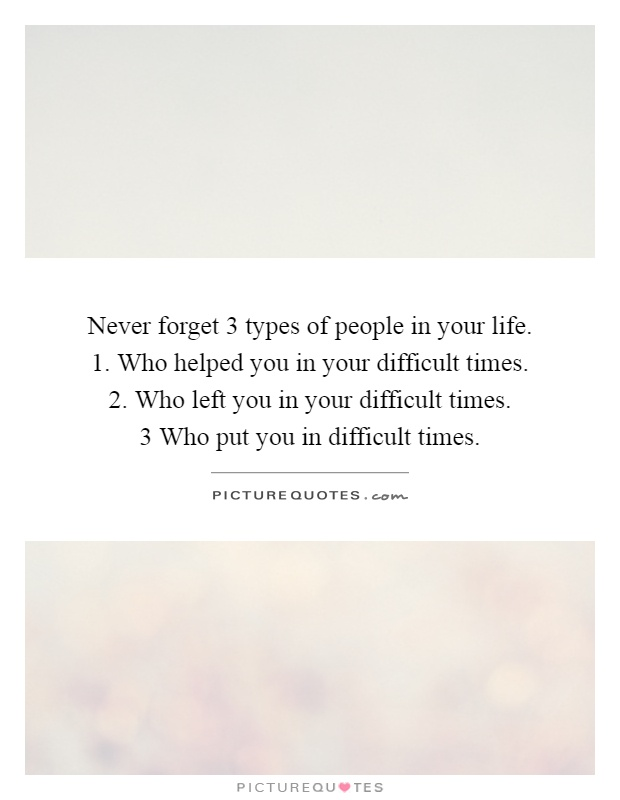 Never forget 3 types of people in your life.  1. Who helped you in your difficult times.  2. Who left you in your difficult times.  3 Who put you in difficult times Picture Quote #1